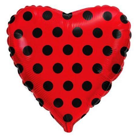 Сердце красное в черную точку