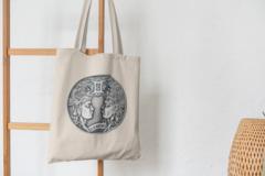 Сумка-шоппер с принтом Знаки Зодиака, Близнецы (Гороскоп, horoscope) бежевая 002