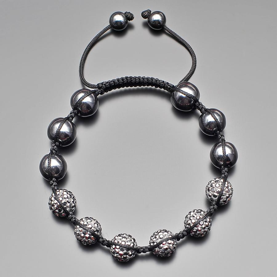Мужской браслет шамбала с камнями гематита и шармами из серых фианитов Rico la Cara AMX005155