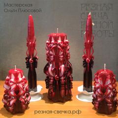 Семейный очаг Фламенко  -  свадебный набор резных свечей