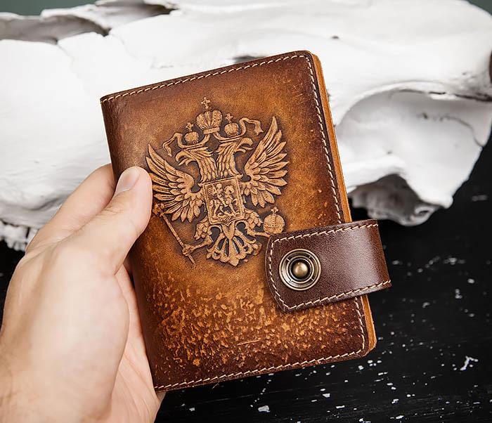 BY11-01-04 Кожаная обложка для документов с Гербом России фото 05