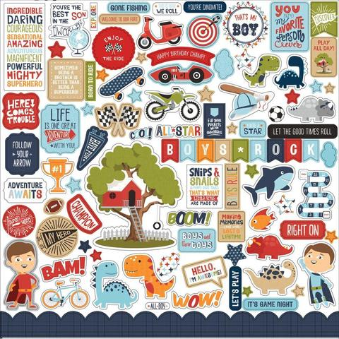 Наклейки  Echo Park All Boy Cardstock Stickers 12