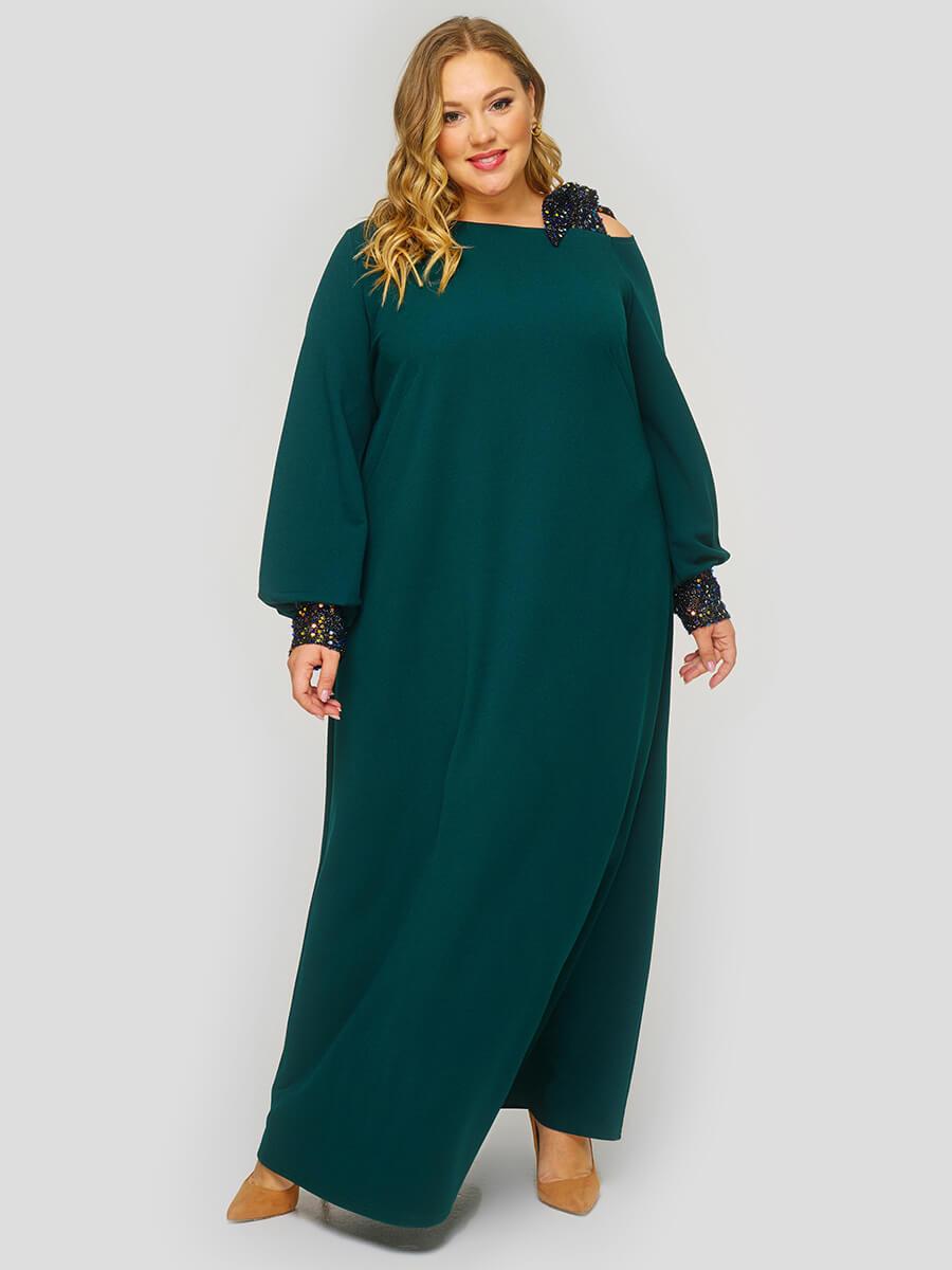 Зеленое длинное вечернее платье большого размера