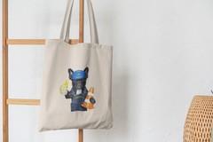 Сумка-шоппер с принтом Собака, Французский бульдог (Dog) бежевая 0012