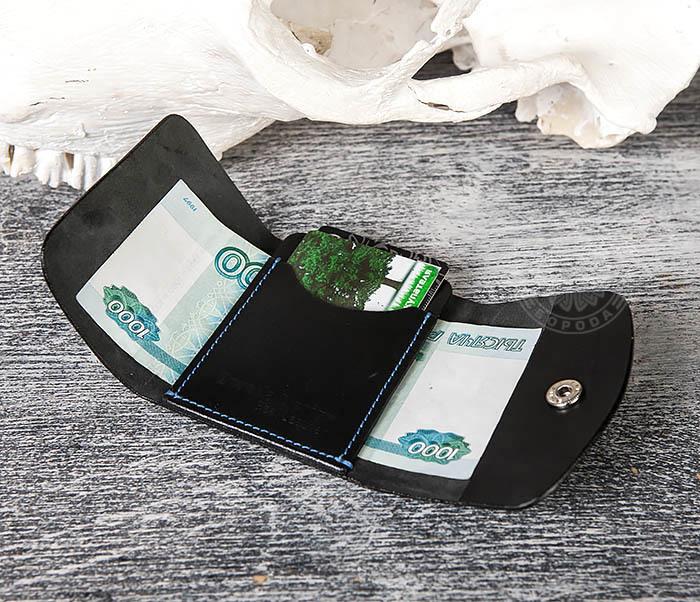 WB166-1 Мужской мини кошелек ручной работы из черной кожи фото 08