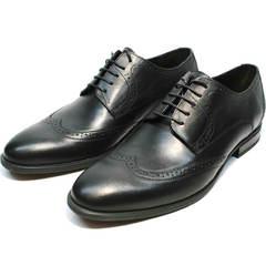 Черные классические туфли дерби мужские Ikos 1157-1 Classic Black.