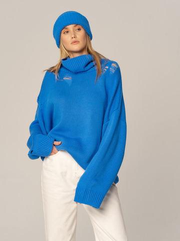 Женский комплект из свитера и шапки цвета деним - фото 1