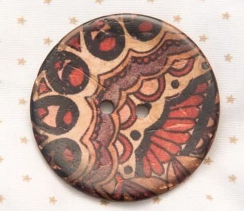 Пуговица с орнаментом, роспись по кокосу, 40 мм