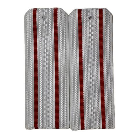 Погоны белые с 2 красными просветами (пог.лента,на пластике)