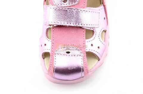 Босоножки Тотто из натуральной кожи с закрытым носом для девочек, цвет розовый металлик. Изображение 10 из 12.