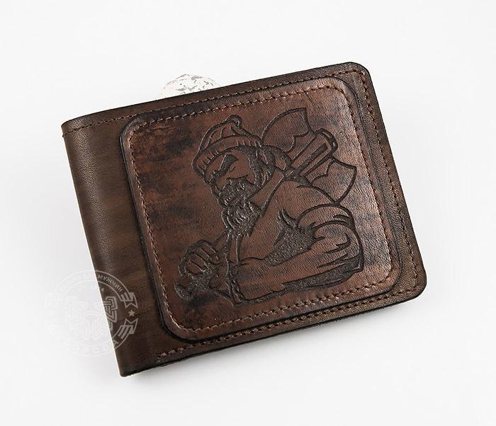 WL268-2 Оригинальное мужское портмоне с суровым дровосеком (гравировка), ручная работа фото 02
