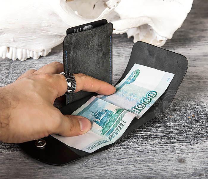 WB166-1 Мужской мини кошелек ручной работы из черной кожи фото 09
