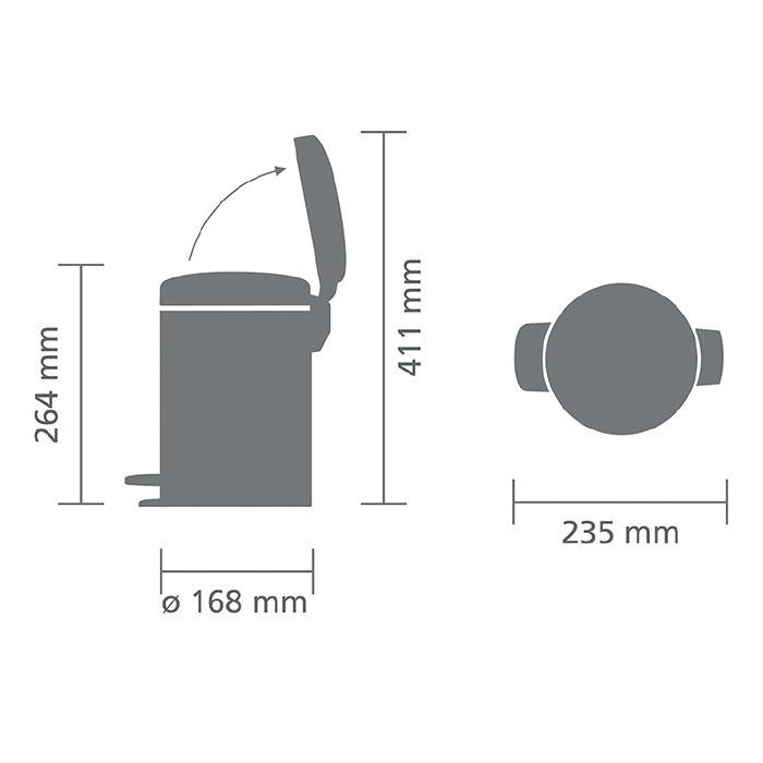 Мусорный бак newicon (3 л), Платиновый, арт. 113246 - фото 1