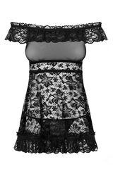 Кружевная эротичная сорочка Flores черная