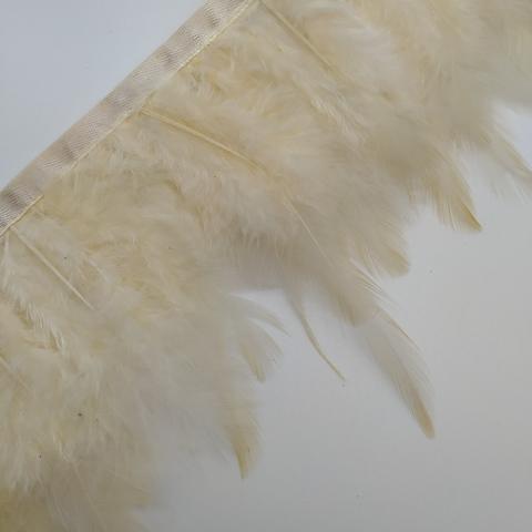 Тесьма  из перьев петуха h- 8-10см., темный айвори