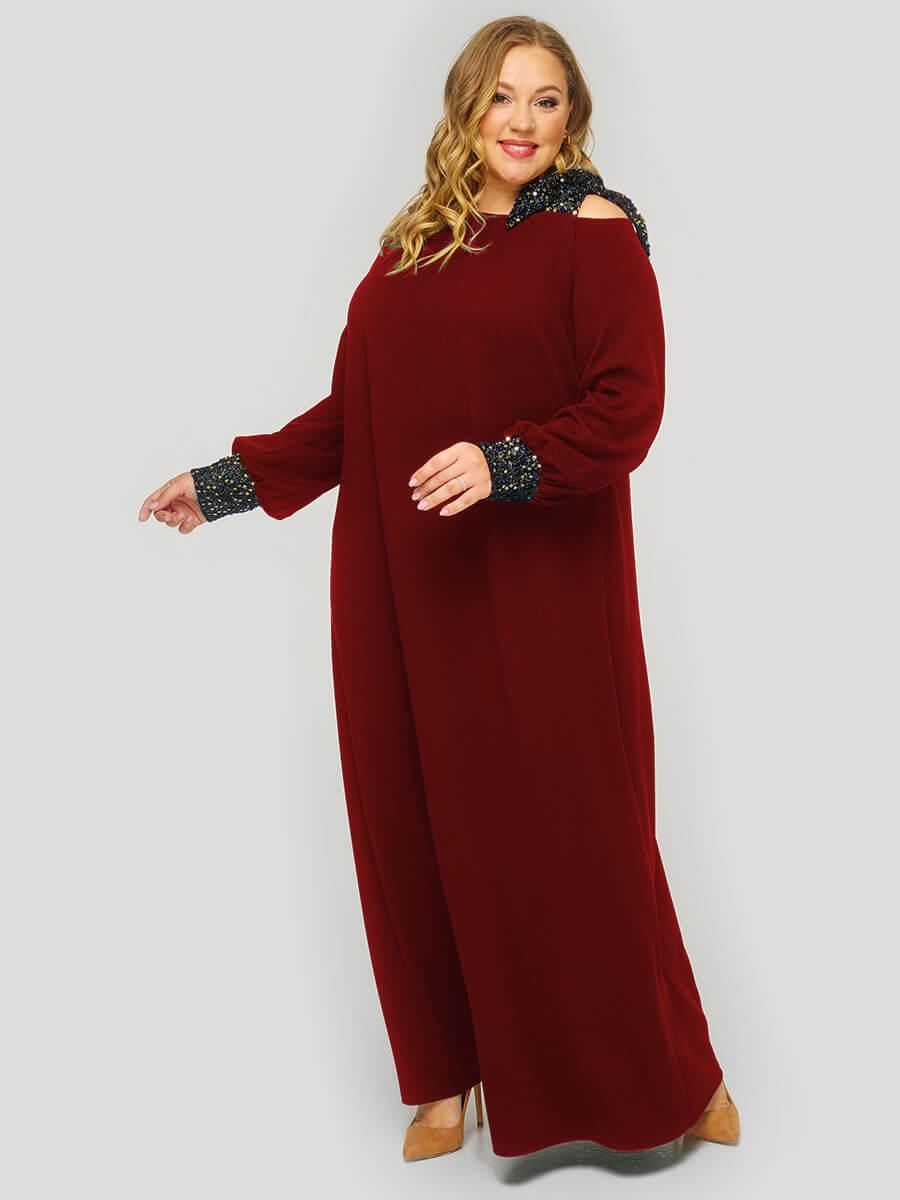 Бордовое вечернее платье 76 размера