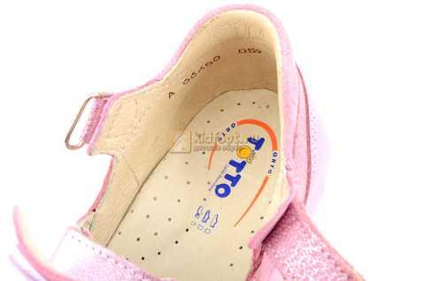 Босоножки Тотто из натуральной кожи с закрытым носом для девочек, цвет розовый металлик. Изображение 11 из 12.