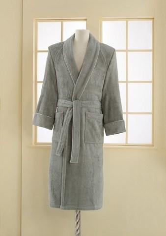 Мужской махровый банный халат DELUXE серый