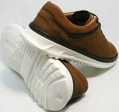 Коричневые кожаные кроссовки городского стиля Vitto Men Shoes 1830 Brown White