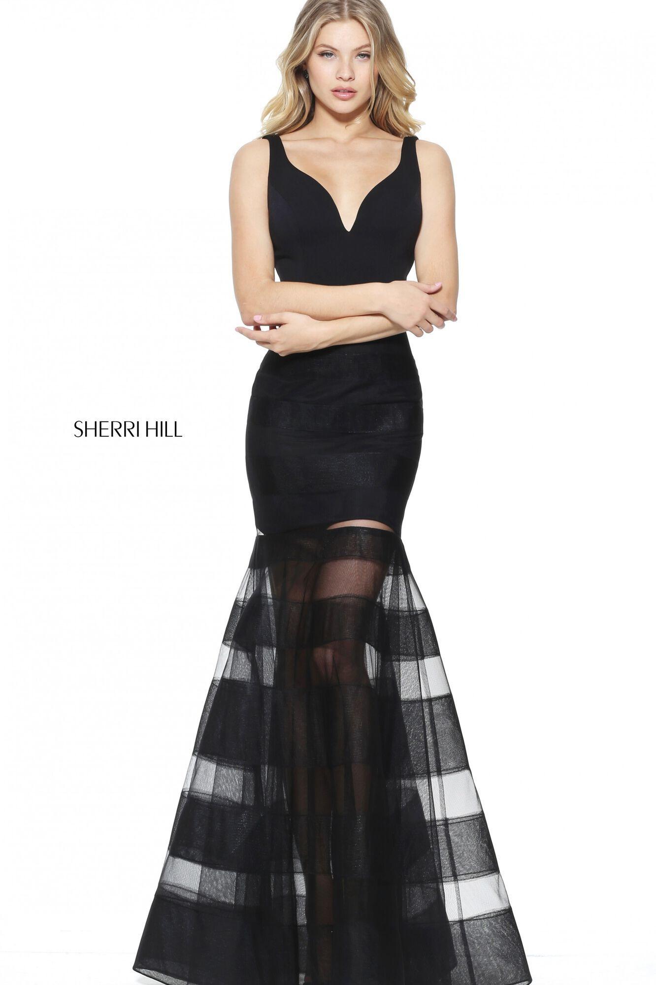 Sherri Hill Черное платье в пол