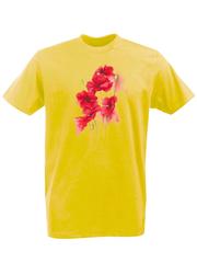 Футболка с принтом Цветы (Маки) желтая 002