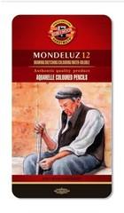 Набор художественных акварельных карандашей MONDELUZ OLD MAN 12 цветов в металлической коробке