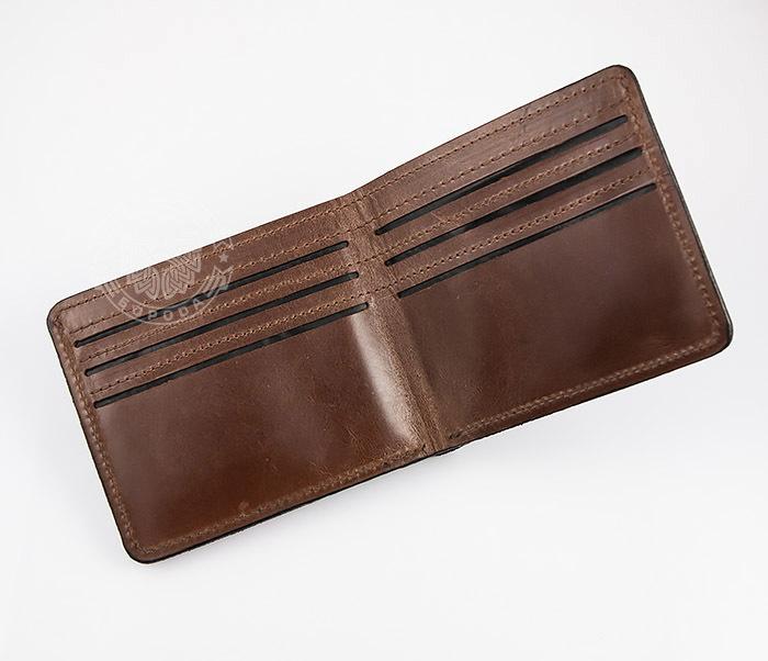 WL268-2 Оригинальное мужское портмоне с суровым дровосеком (гравировка), ручная работа фото 03