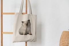 Сумка-шоппер с принтом Кот, Кошка, Котенок, Бирманская (кошки) бежевая 005