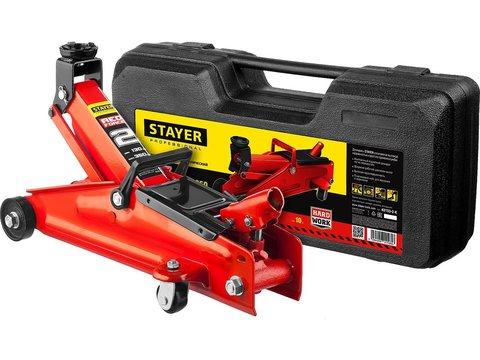 STAYER R-28 2т 130-350мм подкатной домкрат для легковых а/м в кейсе, RED FORCE
