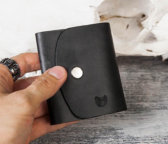 WB166-1 Мужской мини кошелек ручной работы из черной кожи фото 10