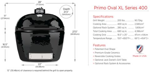 Керамический гриль Primo Oval XL 400 все в одном
