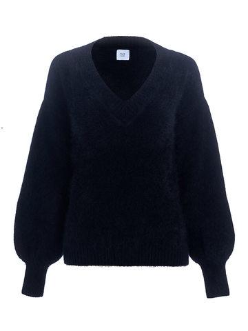 Женский джемпер черного цвета из ангоры с объемными рукавами  - фото 1