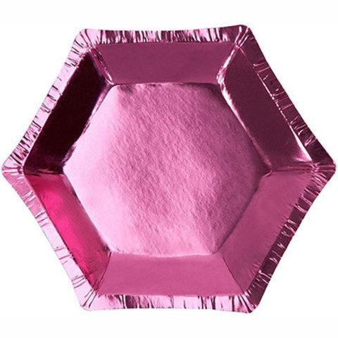 Тарелки микро шестигранные розовые, 8 шт