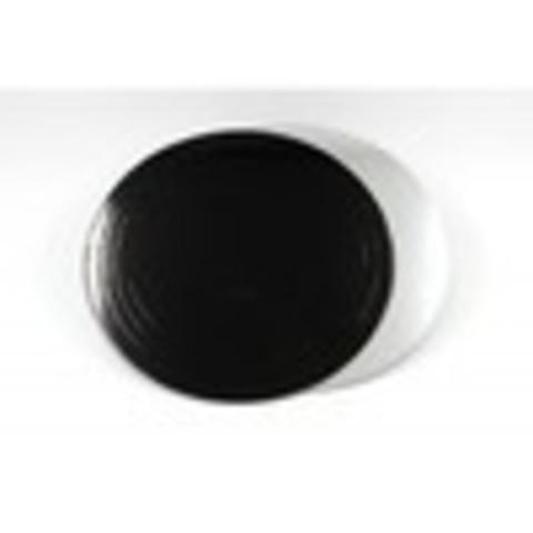 Подложка для торта d=24 см (1,5мм) серебро/черный
