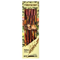 Набор плоских шампуров 55 см с деревянными ручками с кольцами, 6 штук