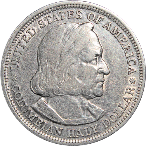 1/2 доллара. США. (Колумб). Серебро. 1893 г. XF