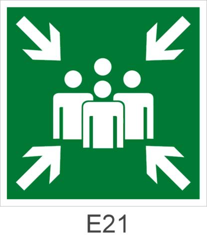 Эвакуационный знак безопасности Е21 Пункт (место) сбора