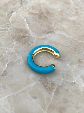 Кафф из позолоченного серебра и голубой эмали