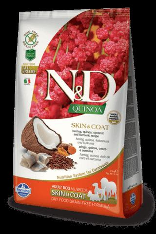 Купить Farmina N&D Quinoa Skin & Coat Herring Adult сухой беззерновой корм для собак всех пород, поддержка здоровья кожи и шерсти  Сельдь, киноа, кокос и куркума. Здоровье кожи и шерсти. Полнорационный сухой корм для взрослых собак.