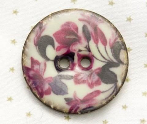 Пуговица с вишнёвыми цветами, роспись по кокосу, 30 мм