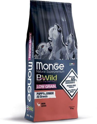 Monge Dog BWild Low Grain Puppy & junior Сухой корм из мяса оленя для щенков всех пород, низкозерновой