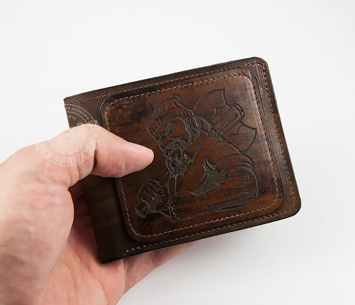 WL268-2 Оригинальное мужское портмоне с суровым дровосеком (гравировка), ручная работа фото 07