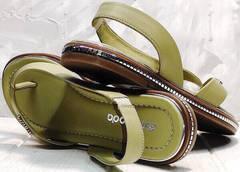Женские летние сандали босоножки с ремешком Evromoda 454-411 Olive.