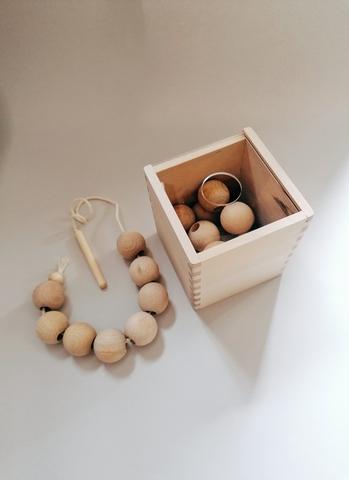 Сортер - шнуровка бусины: 21 шт натуральные