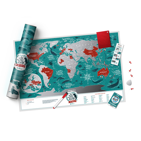 1DEA.me Скретч Карта Мира Marine, 60 × 40 см