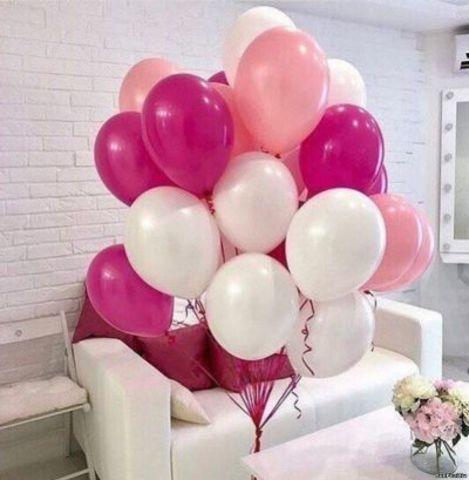 Воздушные шары с гелием Розовый-белый-фуксия