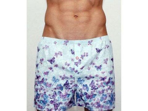 Мужские шорты домашние бирюзовые с фиолетовыми бабочками Romeo Rossi Shorts RR00302