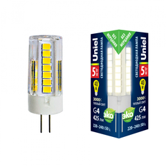 LED-JC-220/5W/3000K/G4/CL GLZ09TR Лампа светодиодная, прозрачная. Теплый белый свет (3000К). Картон. ТМ Uniel.