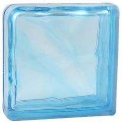 Завершающий стеклоблок голубой окраска в массе Vitrablok   19x19x8