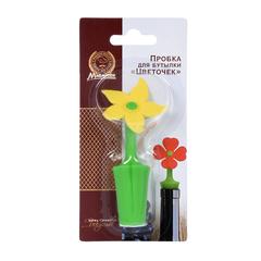 Пробка для бутылки «Цветочек» 9х4,5 см из силикона
